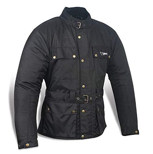 JET Chaqueta Moto Hombre Impermeable Textil con Armadura Vintage Retro Clásico (2XL (EU 54-56), Negro)