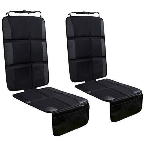 Car Seat Protector, 2 Pack Large Car Seat Protectors for Child Baby Car Seat with Organizer Pockets, Thick Padding Waterproof Car Seat Protector, Auto Vehicle Leather Seats Dog Mat Cover Pads, Black