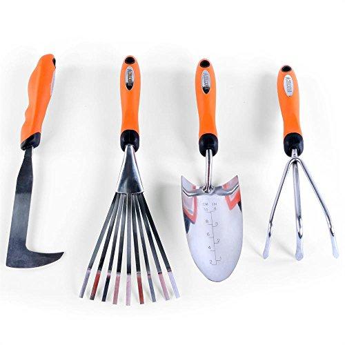 Fuxtec Set 4 Outils de Jardinage à Main grattoir à Joint, Griffe de Jardin 3 Dents, râteau à Main 9 Dents et Pelle à Main. Robustes, précis et fiables.