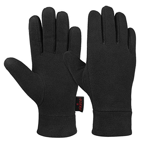 Winter Warm Gloves with Insulated Polar Fleece and Thermal Cotton Lining - Cold Weather Glove Liners for Men and Women (Black,Medium)