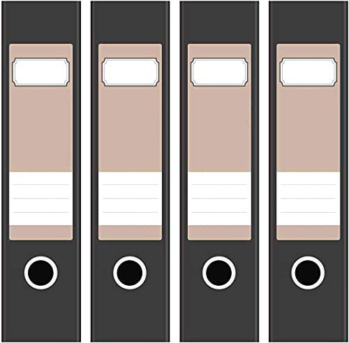 Ordneretiketten | 4 Aufkleber für breite Akten-Ordner | Farbe Hell-Braun | selbstklebende Design Akten-Etiketten | Deko Sticker für Rückenschilder Ordnerrücken | zum Beschreiben