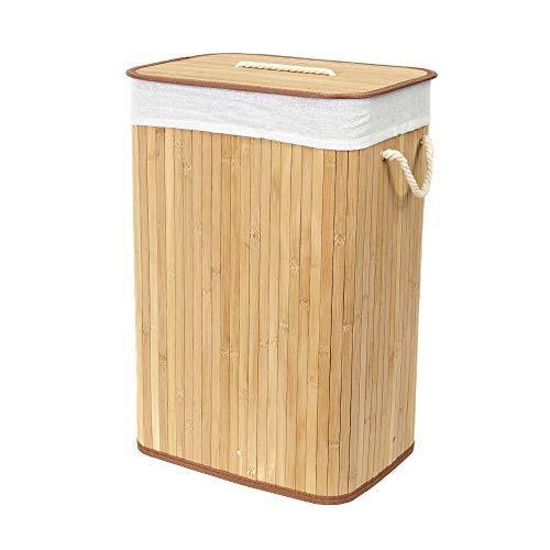 Compactor RAN5217 Faltbarerer, eckiger Wäschekorb Bambus, Durchmesser: 40 x 30 x 60 cm, abnehmbar, natur