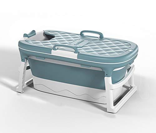 GRFD Bañera portátil, bañera Plegable, bañera, bañera móvil con jabonera 120 cm, cojín para el Cuello, Taburete, Azul