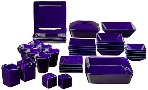 10 Strawberry Street Nova Square Dinnerware Set, 45 PIECE, Cobalt