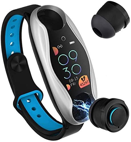 2-en-1 Bluetooth auricular reloj inteligente pulsera Bluetooth 5.0 deportes pulsera para hombre y mujer-plata gris