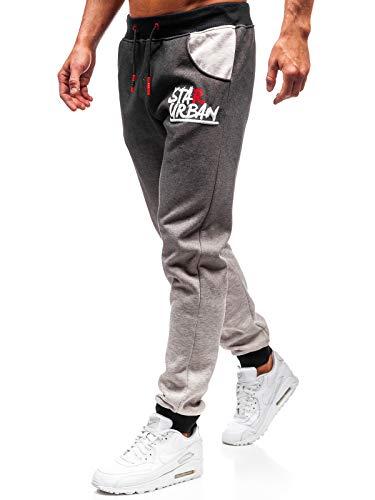 BOLF Herren Sporthose Joggerhose Trainingshose Muster Fitnes Sport Style J.Style AM036 Grau M [6F6]