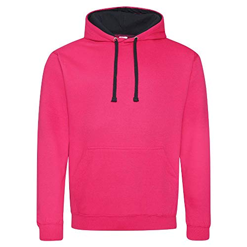 Just Hoods Varsity Kapuzenpullover XL Pink - Hot Pink/French Navy