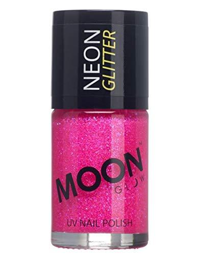 Moon Glow – Vernis à ongles à paillettes fluo UV 14ml Rose. qui produisent un effet fluo incroyable sous la lumière ultraviolette ou noire !