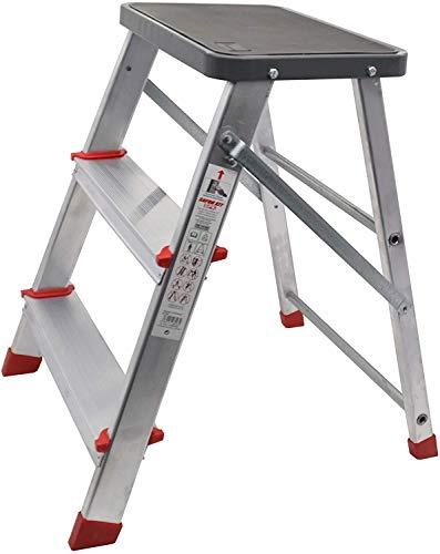 Taburete de 3 peldaños Plegable de Aluminio Muy Ligero y con Gran Resistencia, Patas y Plataforma Antideslizantes, escaleras Ideales para Cocina Pintura Tienda (3 Peldaños - Taburete)