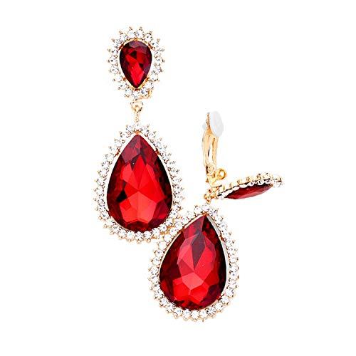Schmuckanthony Hoernel - Pendientes largos de clip (cristal, 6,5 cm), color rojo y transparente