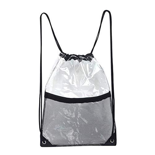 circulor 2 Pcs Transparenter Turnbeutel, Tasche Durchsichtig Transparenter Rucksack Damen, Premium Rucksack Sportbeutel Transparent Kordelzug