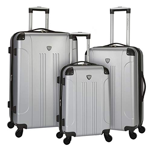 Travelers Club Chicago 2 3 Piece Hardside Expandable Spinner Luggage Set, Silver, 3 PC (20'/24'/28')