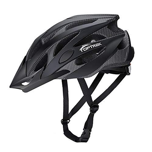 toptrek Fahrradhelm für Herren und Damen EPS-Körper + PC-Schale integrierte Form MTB Helm mit 25 Löchern Radhelm 58-62 cm (L Schwarz)