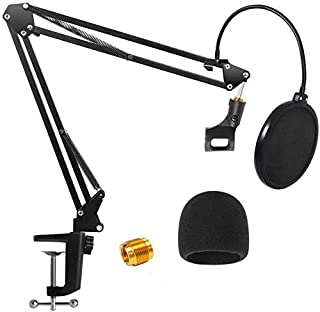 Microphone Arm Stand, H HOME-MART Heavy Duty Table Microphone Arm Stand with Dual Layered Mic Pop Filter Suspension Boom S...