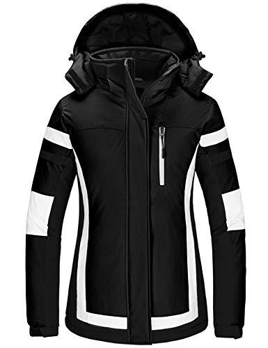 Wantdo Women's Hooded Ski Jacket Mountaineering Snowboarding Outwear Hiking Winter Coat Black XL