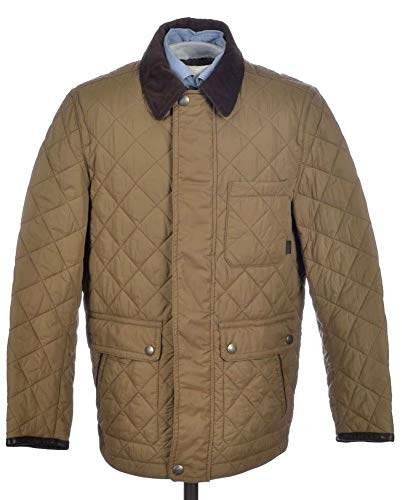 COACH Khaki Beige Nylon Mens Quilted Hacking Jacket Coat F83611 (S)