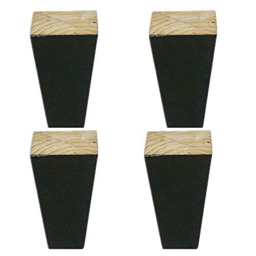 DX meubelpoten, voeten, bedpoten, kastpoten, lage tafelpoten van hout, voor tafel, salontafel, kaptafel, tv-meubel, set van 4 met montageplaat
