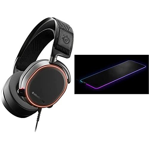SteelSeries Arctis Pro – Gaming-Headset – hochauflösende Lautsprechertreiber & QcK Prism Cloth - Gaming Mauspad – 2 Zonen RGB-Beleuchtung – Größe XL (900mm x 300mm x 2mm)