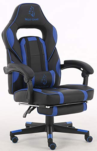 Gaming Silla WolfGame reclinable con reposapies extraible y cojin Lumbar y Cervical modulares. Azul y Negra