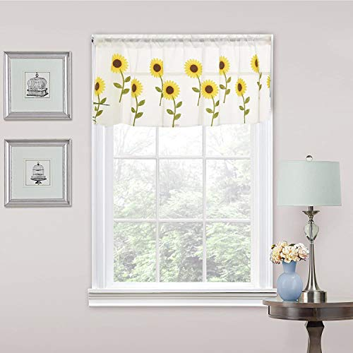 Embroidery Sheer Curtain Valance 20 inches Long Sunflower Embroidered Curtain Valances Living Room Bedroom Voile Rod Pocket Window Treatment 1 Panel (Sunflower)
