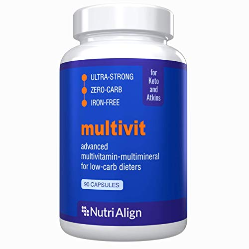 Nutri-Align Multivit: Multivitamins for Keto, Atkins and Similar Low-Carb Diets. Extra-Strong, Iron-Free, Sugar-Free, Zero-Carb. 90 Capsules.
