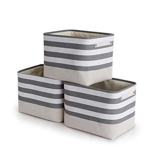 TheWarmHome Foldable Storage Basket with Strong Cotton Rope Handle Collapsible Storage Bins Set Works As Baby Storage Toy Storage Nursery Baskets Lattice 3Pack-16L12W12H