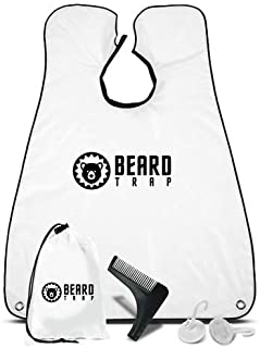 Beard Trap Beard Apron | Hair Catcher Guard for Shaving, Trimming & Grooming | Beard Cape with Suction Cups to Attach to Mirror for Men | Perfect Father's Day Gift for Boyfriend, Brother, Dad & More