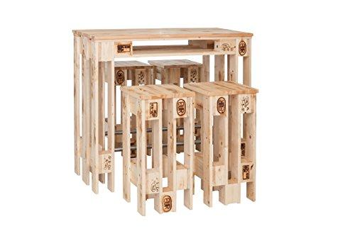 Theke und Vier Barhocker im Europaletten Design - Tresen und Hocker Sind in Handarbeit gefertigte Unikate - Europalettenmöbel der Extraklasse