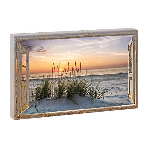 Bild auf Leinwand Fensterblick Querformat | Sonnenuntergang am Meer - 60x40 cm Wandbild im XXL-Format, Leinwandbild mit Kunstdruck ungerahmt, Landschaftsbild fertig auf Holzrahmen gespannt