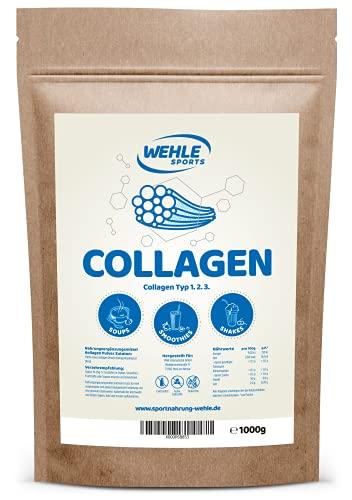 Collagen Pulver 1kg - Kollagen Hydrolysat Peptide - Eiweiß-Pulver Geschmacksneutral - Wehle Sports - Made in Germany Kollagen Typ 1 2 3 Lift Drink