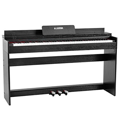 LAGRIMA M-309 Digital Piano Elektronisches Klavier 88 Tasten mit 3 Pedale Adapter & USB/MIDI Minimalismus Schwarz