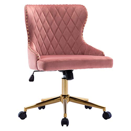 Duhome Modern Home Office Chair Desk Chair Mid-Back with Gold Base Height Adjustable Pink