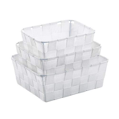 kela Korb-Set Alvaro 3 Stück in weiß, PP-Faserband, 30 x 15 x 10 cm, 3-Einheiten