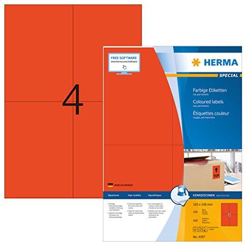 HERMA Universal-Etiketten SPECIAL, 105 x 148 mm, rot