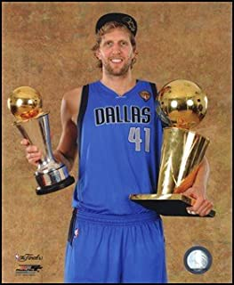 Dirk Nowitzki with the 2011 NBA Championship & MVP Trophies Game 6 of the 2011 NBA Finals Art Poster PRINT Unknown 8x10