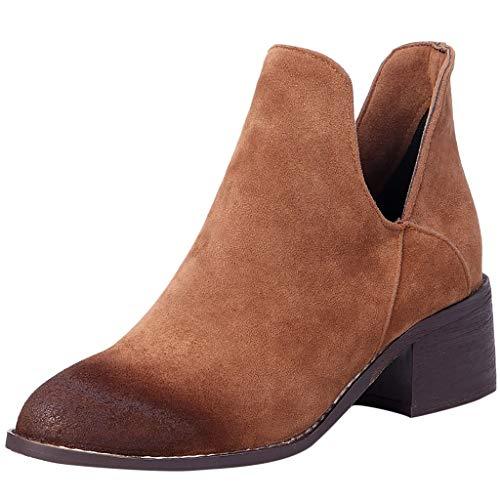 manadlian Femme Boots Talon Bottine Femmes Hiver Chaussures en Daim Cuir Bottes Chelsea Chic Bottes et Bottines Cheville Compensées Grande Taille Boots Chaussure 3CM