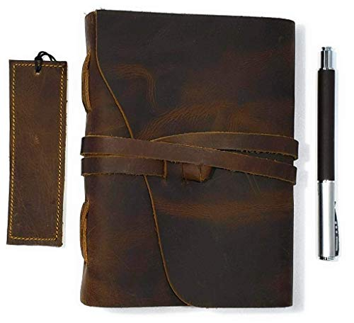 Refillable Lined Leather Journal - Handmade Brown Leather Vintage Journal for Men & Women - Leather Journal Gift Set - 5 x 7 Quality Lined Paper - Leather Cover Writing Notebook
