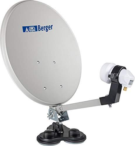 BERGER Mobile Sat-Anlage Komplettset Single-LNB Campingkoffer Satellitenanlage 35 cm Spiegelantenne