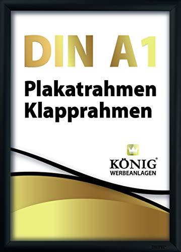 Plakatrahmen DIN A1 | 25mm Alu Profil, eckig | schwarz | inkl. entspiegelter Schutzscheibe und Befestigungsmaterial | Bilderrahmen Klapprahmen Wechselrahmen Posterrahmen Rahmen | Dreifke®