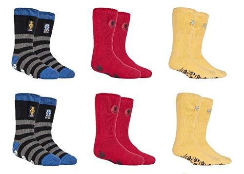 6 pares de calcetines térmicos para niños y niñas, con licencia térmica, 2 tamaños 6 X Hh Boys Character UK 9-12 EUR 27-30