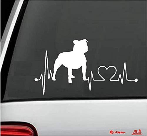 Pegatinas para coche con forma de perro STAFFORDSHIRE BULLTERRIER , 20 cm, para amantes de los coches. Color BLANCO. Pegatina perro latidos corazón. Regalo adhesivo Spilarts, Marca Registrada