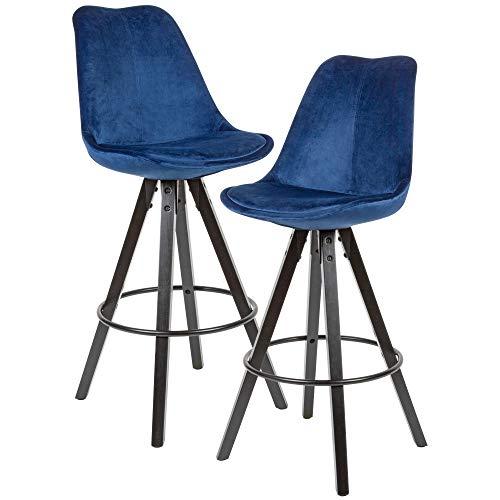 FineBuy 2er Set Barhocker Samt/Massivholz Dunkelblau | Design Barstuhl Schwarze Beine Skandinavisch 2 Stück | Tresenhocker mit Lehne Sitzhöhe 77 cm