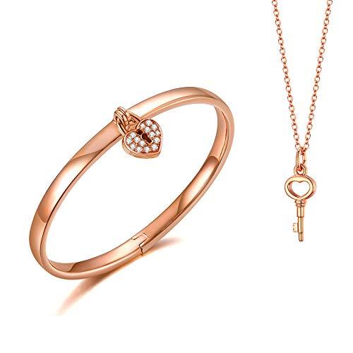 Italina Bangle voor Damesmode Sieraden Liefde Hart Sleutel Set Armband Trouwring voor Dames Meiden Verjaardag Verjaardagscadeau