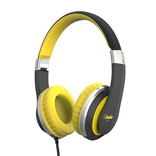 Elecder i41 Kids Headphones, Headphones for Kids Children Girls Boys Teens Foldable Adjustable On Ear Headphones with 3.5mm Jack for iPad Cellphones Computer MP3/4 Kindle Airplane School(Yellow/Black)
