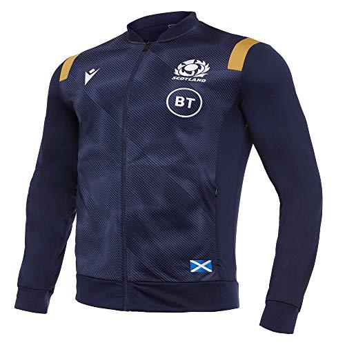 Macron SRU M20 Navy/Gold SR, Anthem Jacket Senior Scotland Rugby 2020/21, Herren, Blau, XL