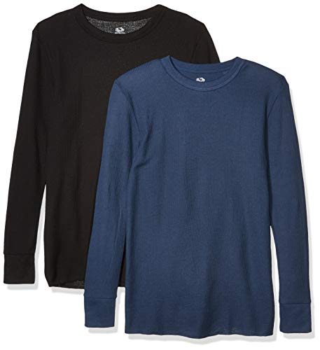 Fruit of the Loom Men's Classic Midweight Waffle Thermal Underwear Crew Top (1 & 2 Packs), Navy/black soot, XX-Large