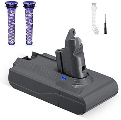 Powerextra 3.5 Ah Batteria di Ricambio per V6 21.6V Compatibile con V6 DC58 DC59 DC61 DC62 SV03 SV06 Animal DC74 DC72 595 650 770-2 Filtri lavabili Brush una Spazzola e un Cacciavite