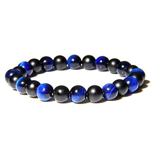 Stone Bracelet Bangles Wristlet,Natural Purple Tiger Eye Stone Beads Women Bracelet Black Onyx Beads Charm Bracelet Yoga Energy Buddha Bangles For Man Women Girls Yoga Stretch Bracelets,Blue Tiger,21C