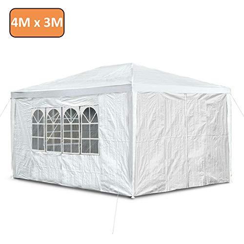 Autofather - Carpa impermeable de 3 x 4 m con carpa lateral para jardín, con 4 paneles laterales para exteriores, boda, jardín, fiesta, color blanco