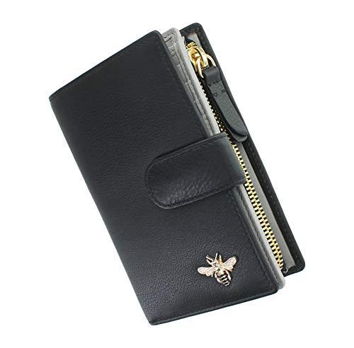 Leather Purse mala Mason Collezione con RFID Protezione 3471_27 Nero/Grigio